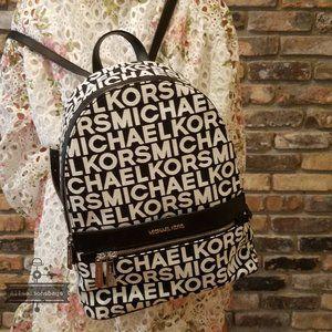 Michael kors KENLY large backpack Black White NWT